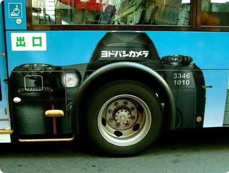 autobus publicidad cámara de fotos
